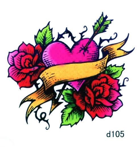 薇嘉雅 愛心 花 超炫圖案紋身貼紙 d105