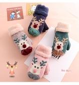 兒童手套 冬季可愛卡通保暖加絨加厚男女童小孩包指掛脖壓誕4-9歲 6色