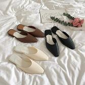 細細條 韓國簡約氣質低跟包頭半拖鞋女無後跟懶人穆勒鞋 格蘭小舖