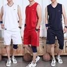 運動套裝純棉無袖運動套裝男跑步健身背心短褲休閒寬鬆夏季服裝薄款運動服 JUST M