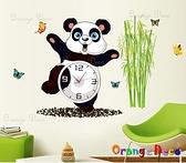 壁貼【橘果設計】貓熊 含兩張壁貼 靜音壁貼時鐘 不傷牆設計 牆貼 壁紙裝潢