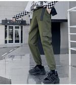 新款寬鬆bf風黑色直筒闊腿工裝褲帥氣嘻哈寬鬆bf休閒褲