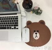 滑鼠墊 INS少女心韓國布朗熊滑鼠墊橡膠布面防滑可愛卡通筆記本滑鼠墊 moon衣櫥