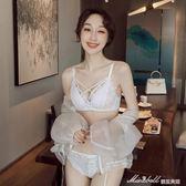 性感蕾絲邊無鋼圈薄款聚攏文胸罩綁帶內衣小胸女     蜜拉貝爾