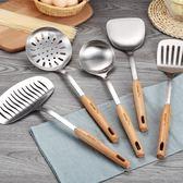 304不銹鋼鍋鏟炒菜鏟子防燙實木柄湯勺勺子