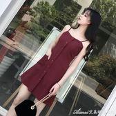 無袖紅色a字洋裝女夏新款復古氣質顯瘦中長款溫柔風吊帶裙艾美時尚衣櫥