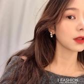 celi風耳環女氣質韓國個性耳飾三顆珍珠耳釘耳圈-ifashion