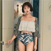 韓國比基尼性感泳衣女二件套小胸聚攏荷葉平角分體溫泉泳裝一字肩  草莓妞妞