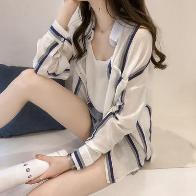 防曬衣女2019夏裝新款大碼條紋襯衫寬鬆雪紡防曬服超薄開衫721#N-1FE35-A日韓屋