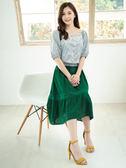 單一優惠價[H2O]分層抽褶拼接刺繡布膝下裙 - 桔紅/綠/藍色 #9672011