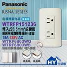 國際牌RISNA系列【WNF151236W附接地雙插座 + 蓋板WTRF6803WQ(銅邊)/ WTRF6803WS(銀邊)可選】5.5mm²絞線用