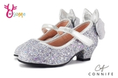 CONNIFE專櫃 毛茸雪兔 中童低跟娃娃鞋 花童舞台表演鞋 C2451#銀色 ◆OSOME奧森鞋業