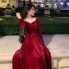 長袖洋裝 秋冬季連衣裙女法式復古赫本風小黑裙中長款氣質內搭裙子 - 雙十二交換禮物