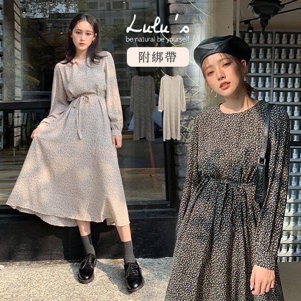 LULUS-L碎花後開釦長洋裝-附綁帶-2色  【02190139】