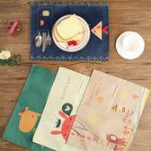 【BlueCat】雙層卡通棉麻布藝小口袋餐具袋餐桌墊 隔熱墊
