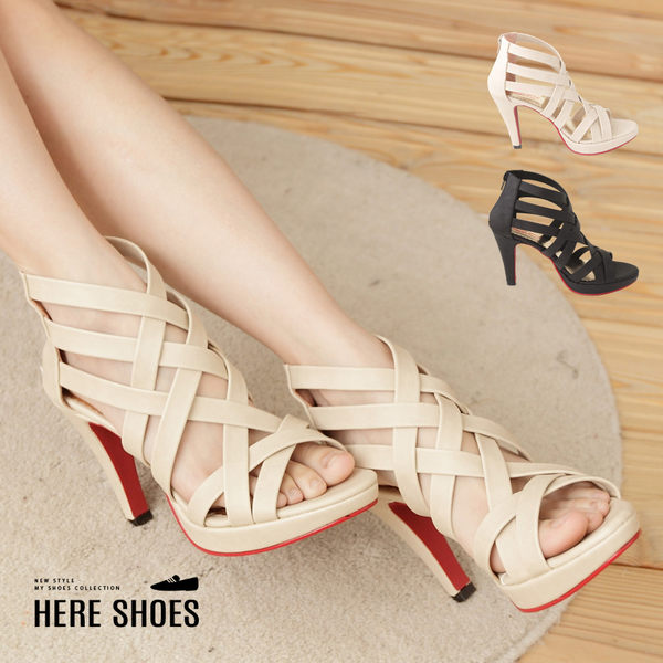 [Here Shoes]2色 羅馬交叉繞帶繞踝 拉鍊好穿脫 10.5CM高細跟涼鞋 拉長比例顯瘦 ◆MIT台灣製─KD838