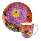 德國Waechtersbach經典彩繪系列390ml馬克杯+21cm盤組-Impressions紫花