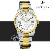 BENTLEY 賓利 / BL1615-107772 / 羅馬 藍寶石水晶 秒針視窗 日本機芯 德國製造 不鏽鋼手錶 銀x鍍金 32mm