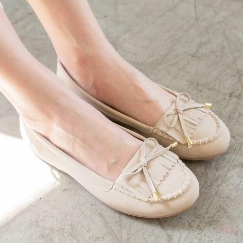 【現貨快速出貨】豆豆包鞋.MIT蝴蝶結流蘇平底豆豆鞋.白鳥麗子