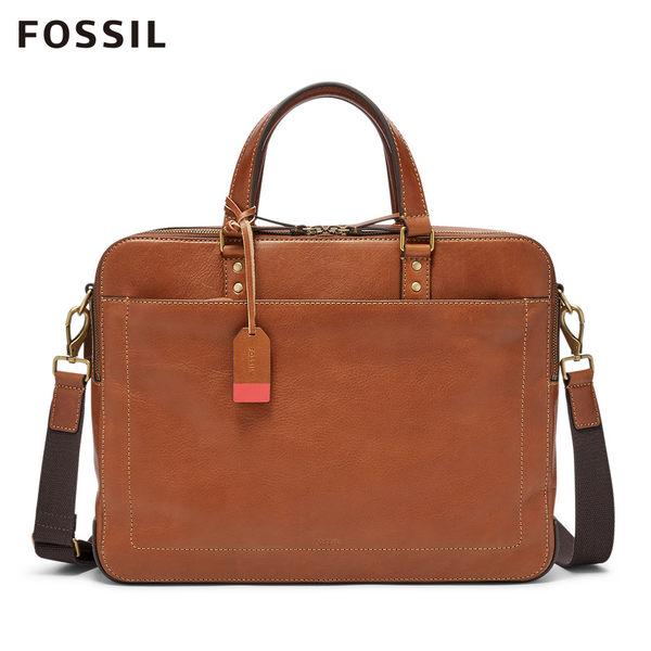 FOSSIL Defender 焦糖色真皮經典公事包MBG9346222