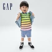 Gap男幼童 活力條紋貼袋短袖T恤 681423-彩虹條紋