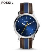 FOSSIL MINIMALIST 棕x藍色條紋極薄款手錶 男FS5554