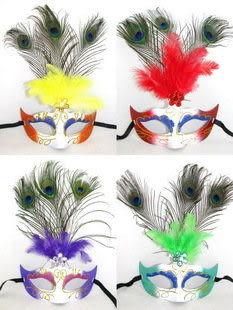 聖誕節面具 孔雀羽毛彩繪面具