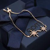 apm MONACO法國精品珠寶 閃耀玫瑰金雙繁星鑲鋯可調整手鍊手環