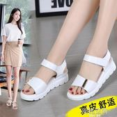 涼鞋女夏平底學生魔術貼女鞋韓版簡約厚底中跟涼鞋女 韓語空間