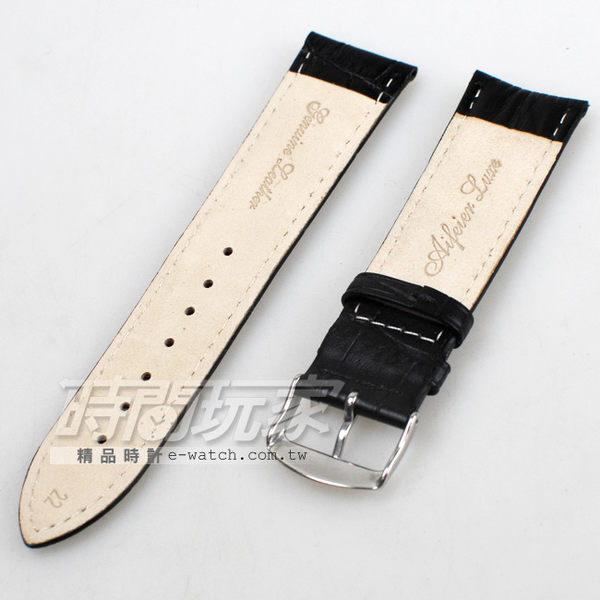 22mm錶帶|真皮錶帶 黑色 RKE黑竹22