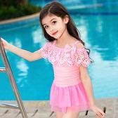 新款兒童泳衣女孩套裝連體裙式可愛中大童游泳衣公主學生女童泳裝第七公社