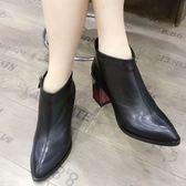 粗跟靴 英倫風尖頭真皮粗跟短靴女 冬季女鞋歐洲站高跟馬丁靴 唯伊時尚