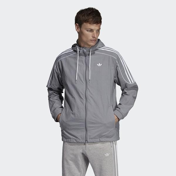 Adidas Orginals Radkin Wb 灰 白刺繡logo 風衣 外套 男(布魯克林)  DU8144