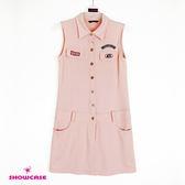 【SHOWCASE】個性美式風格前開式合身棉質洋裝(粉)