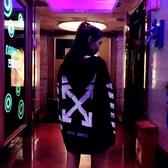 潮牌OFF-WILARD條紋箭頭WHITE字母連帽連帽T恤男女寬鬆加絨情侶外套   koko時裝店