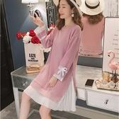 初心 質感系 洋裝 【D9354】韓系 針織 拼接 雪紡 長袖 百褶 針織衫 毛衣裙