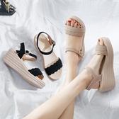 楔型鞋波西米亞夏季韓版百搭時尚鬆糕坡跟平底涼鞋女厚底仙女風新年禮物 韓國時尚週