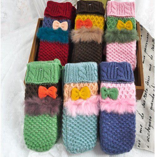 日韓風毛線手套 可愛蝴蝶結兔毛全指手套 掛脖加絨S18-6色/單售