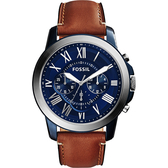 FOSSIL Grant 旗艦三眼計時腕錶/手錶-藍x棕/44mm FS5151