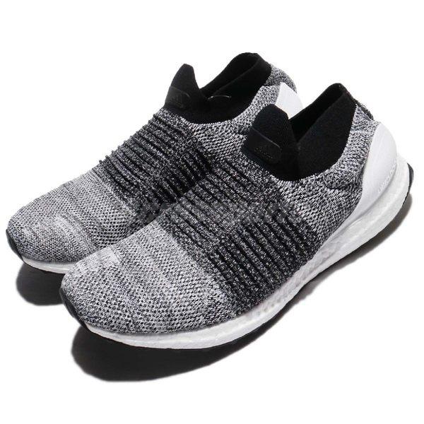 adidas 慢跑鞋 UltraBOOST Laceless 黑 白 運動鞋 無鞋帶 舒適緩震 襪套式 男鞋【PUMP306】 BB6141