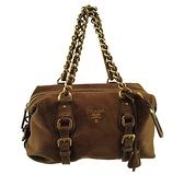 【奢華時尚】PRADA 咖啡色麂皮金色LOGO肩背金鍊波士頓包(八八成新)#25151