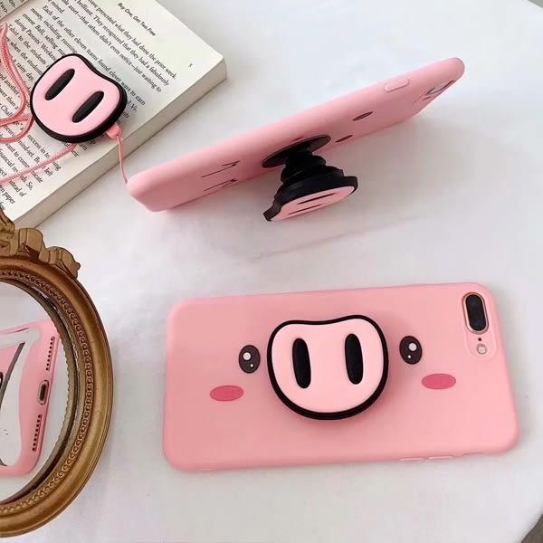 蘋果 iPhone XS MAX XR iPhoneX i8 Plus i7 Plus 粉豬三件組 手機殼 支架 掛繩 全包邊 矽膠 軟殼 保護殼