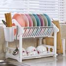 雙層瀝水碗架放碗碟架廚房用品用具置物架餐具裝碗筷收納碗櫃塑料