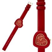 〔小禮堂〕Hello Kitty 皮革錶帶愛心框造型腕錶手錶《紅金》淑女錶.透明盒裝 4901610-33750