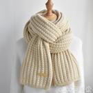 熱賣圍巾 粗毛線針織圍巾女冬季韓版百搭保暖日系學生純色圍脖潮【618 狂歡】