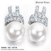 耳環STEVEN YANG正白K飾「夢幻白貝珠」耳針式 華麗滿鋯 *一對價格* 母親節推薦