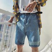 夏季新款男士牛仔褲短褲五分褲破洞褲休閒男褲潮流寬鬆乞丐褲 潔思米