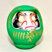 日本製 心願成就 開運 彩繪 達摩 福神 不倒翁 群馬縣高崎生產 綠色 健康的祈願