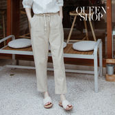 Queen Shop【04101341】剪接大口袋棉麻休閒褲 兩色售*現+預*