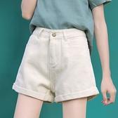牛仔短褲女 白色牛仔短褲女夏季2021新款高腰a字寬鬆寬管大碼杏色顯瘦熱褲子【快速出貨】